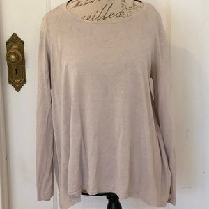 Eileen Fisher Cotton Pullover Sweater Tan Large